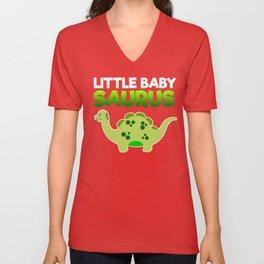 Green Little Baby Saurus Unisex V-Neck