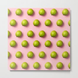 Limes pattern on pink background Metal Print