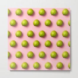 Limes pattern on pink background Metal Print