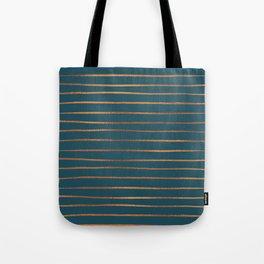 Teal & Rose Gold Line Pattern Tote Bag