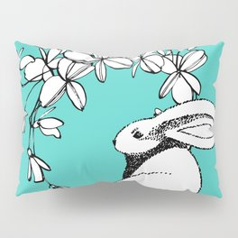 Happy Easter Bunny and Easter Flowers on Teal 1 Pillow Sham