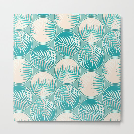 Cyan Tropical Coins #society6 #decor #buyart Metal Print