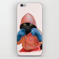 boxing iPhone & iPod Skins featuring Boxing Cat 2  by Tummeow
