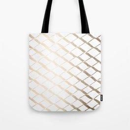 Luxe Gold Diamond Lattice Pattern on White Tote Bag