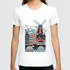 Amsterdam White Womens Fitted Tee X-LARGE