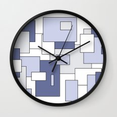 Squares -  gray, blue and white. Wall Clock