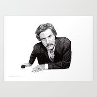 will ferrell Art Prints featuring Ron by Rik Reimert