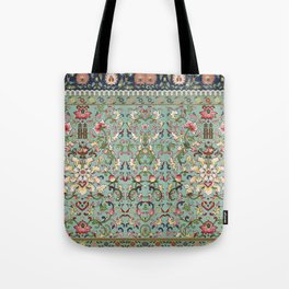 Asian Floral Pattern in Turquoise Blue Antique Illustration Tote Bag