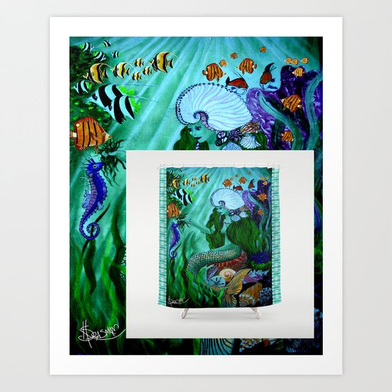 Mermaid Shower Curtain Available NOW! Art Print