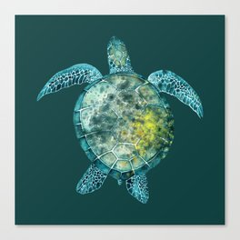 Watercolor Sea Turtle - Turquoise Canvas Print