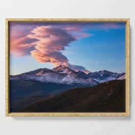 Fire on the Mountain - Sunrise Illuminates Cloud Over Longs Peak in Colorado Serving Tray