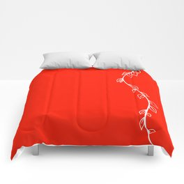 Red Vine on White Comforters