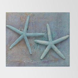 Turquoise Starfish on textured Background Throw Blanket