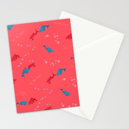 Pink Shark and Dolphin Stationery Cards