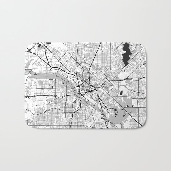 Dallas Map Gray Bath Mat