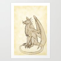 warcraft Art Prints featuring Lyrasz; Portrait of a Young Wyrm by Defiler Wyrm
