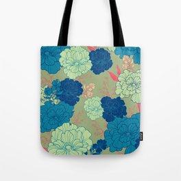 Green Blue Anemone Tote Bag