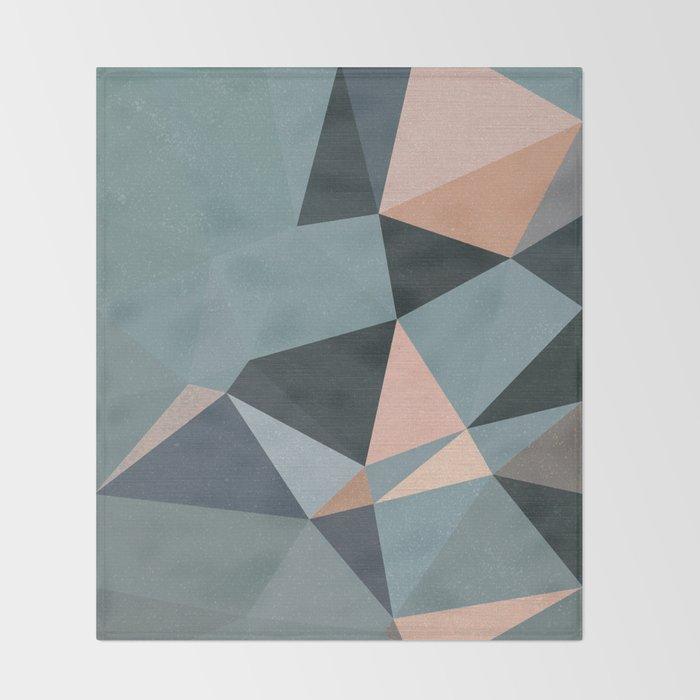 Moody urban Geometry - blue grey peach Throw Blanket