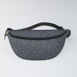 Gray & Dark Blue Abstract Triangle Geometric Mosaic Shape Pattern Pairs To 2020 Color of the Year Fanny Pack