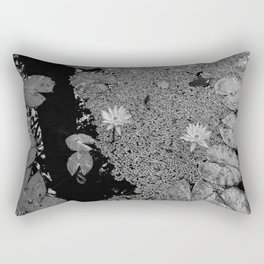 Black and White Lily Pond Rectangular Pillow
