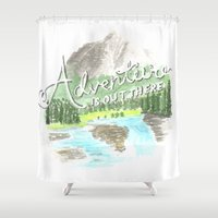 """pixar Shower Curtains featuring """"Adventure is Out There!"""" - Up, Pixar by astoldbycaro"""