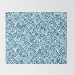 NAVY LIKE A MERMAID Fish Scales Watercolor Throw Blanket