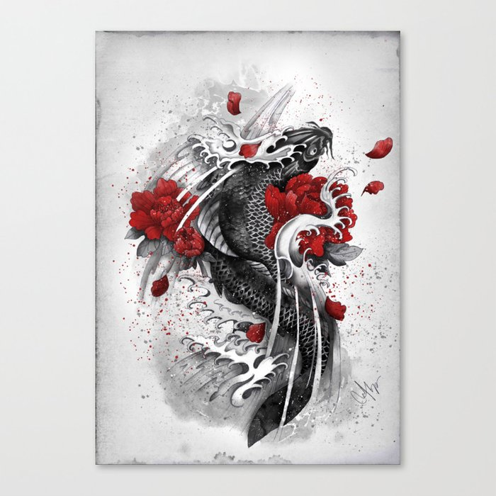 Black koi canvas print by marineloup society6 for Koi canvas print