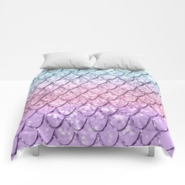 Mermaid Scales on Unicorn Girls Glitter #4 #shiny #pastel #decor #art #society6 Comforters