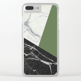 Black and white marble with pantone kale Clear iPhone Case