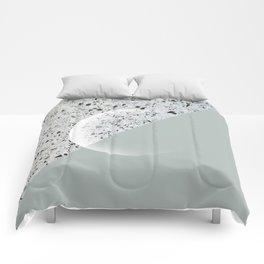 Minimal Terrazzo Moon on Vintage Green #moonart Comforters