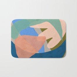 Shapes and Layers no.30 - Large Organic Shapes Blue Pink Green Gray Bath Mat