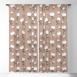 Paper cut cotton boll flowers fall bloom copper Sheer Curtain
