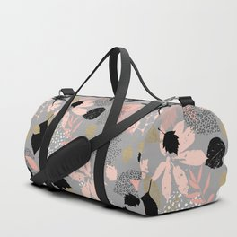 Abstract maple leaves autumn in pink and gray colors Duffle Bag