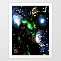 john green Art Prints featuring John Stewart : The Green Lantern by André Joseph Martin
