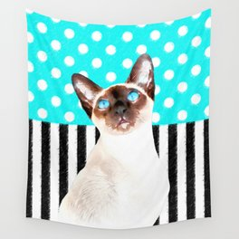 Siamese Cat Polka Teal Wall Tapestry