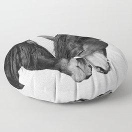 Horses - Black & White 4 Floor Pillow