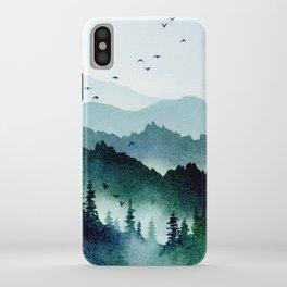 Watercolor Mountains - Handpainted Landscape Art Pine Trees Forest Wanderlust iPhone Case