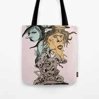 hats Tote Bags featuring Monster Hats  by Quirkyjoe