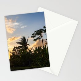 Palm tree at sunset in Moorea island Stationery Cards