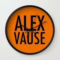alex vause Wall Clocks featuring Alex Vause (2) by Zharaoh