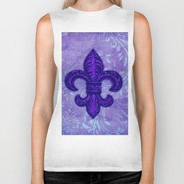 Purple Fleur de Lis Biker Tank