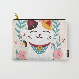 Japanese Lucky Cat with Cherry Blossoms Carry-All Pouch