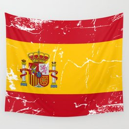 Spain flag with grunge effect Wall Tapestry