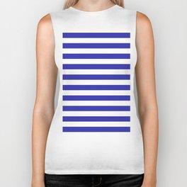 Stripes (Navy & White Pattern) Biker Tank