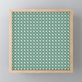 White Santa And Reindeer Christmas Pattern Framed Mini Art Print