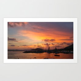 Sunset in the Bay of Naples Art Print