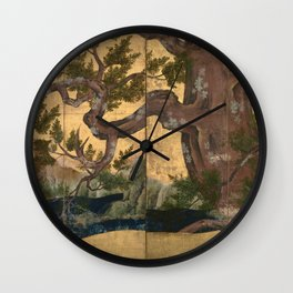 Cypress Tree - Japanese Eight-Panel Gold Leaf Screen - Azuchi-Momoyama-Period Wall Clock