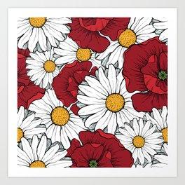 Beautiful flowers seamless pattern Art Print