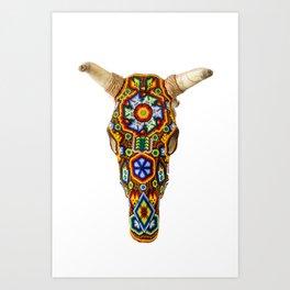 Huichol Bull Skull Art Print