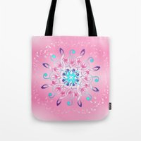 music notes Tote Bags featuring Music Notes In Pink by HK Chik